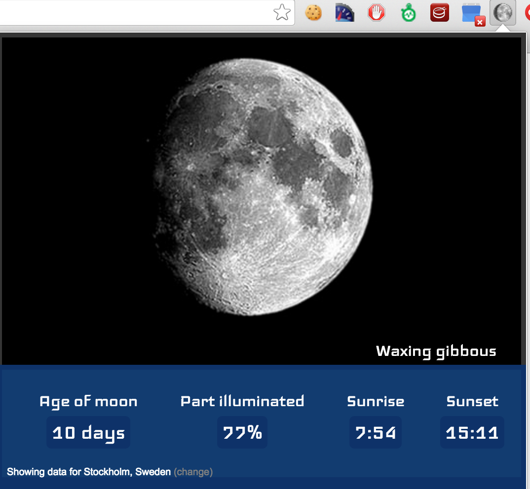 Lunar Phases, a simple Chrome extension showing some current data relating to the moon and the sun.